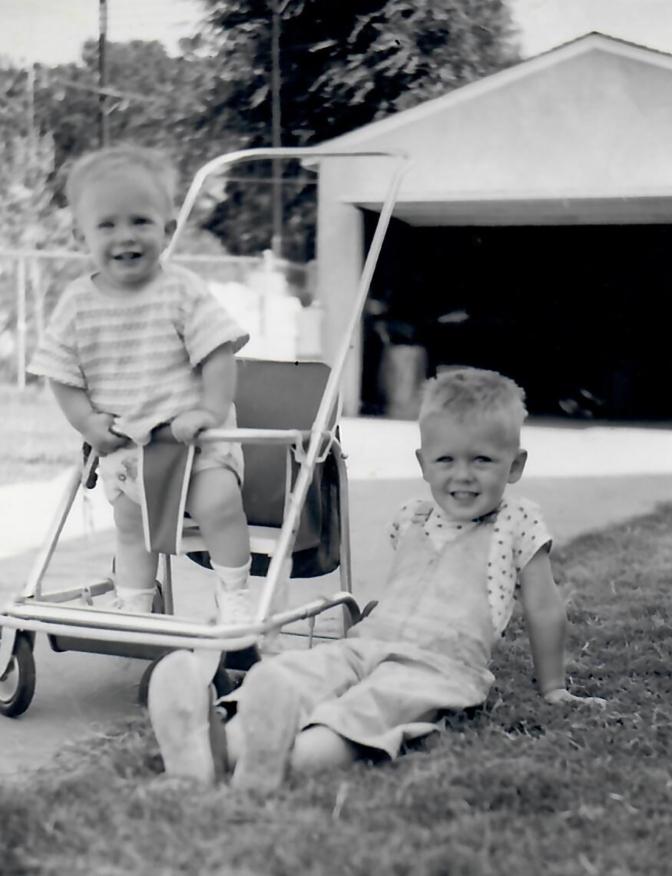 1954 John in Stroller & Colin crop